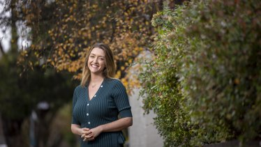 The Greens candidate Steph Hodgins-May, photographed in Elwood, wants more ambitious action on climate change.