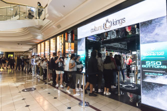 Shoppers line up the Culture Kings store in Chadstone shopping centre on Boxing Day.