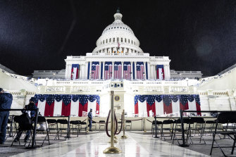A light rain fell at the Capitol as inauguration preparations continued.