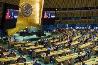 시진핑(習近平) 중국 국가주석이 지난 9월 유엔의 비디오 스크린에 모습을 드러냈다.