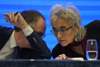 Marion Koopmans, right, and Peter Ben Embarek of a World Health Organisation team during the press conference in Wuhan.