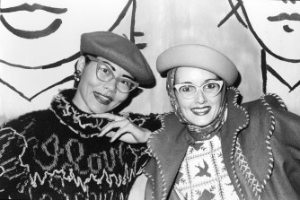 At the 1976 Bondi Pavilion show wearing vintage glasses and hats.