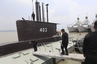 An oil spill was found near the site where the KRI Nanggala-402 submarine, pictured in 2014, was last located.
