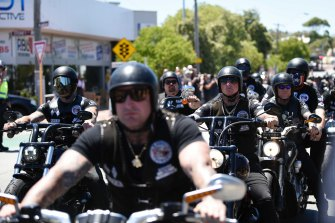 Hundreds of bikies leave the funeral home in North Perth.