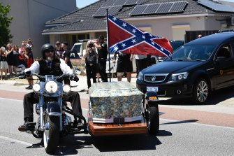 Nick Martin's coffin leaves the funeral home in North Perth, en route to Pinnaroo Valley Memorial Park.
