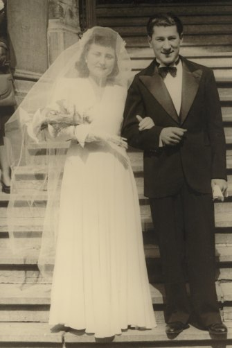 Flore and Eddie Jaku on their wedding day in Belgium, April 20, 1946.