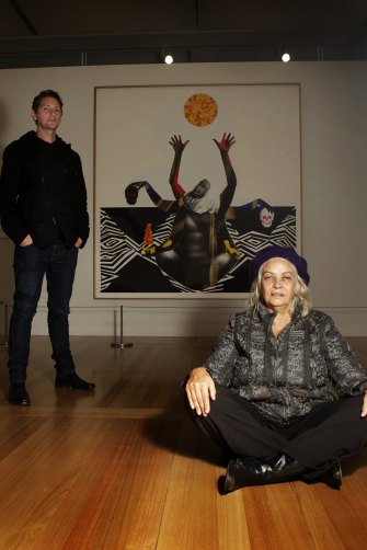 Brook Andrew unveils his portrait of Professor Marcia Langton at Canberra's National Portrait Gallery in 2010.