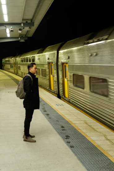 It's still completely dark when Dan Lysaght gets the train to work.