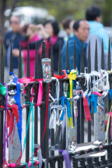 Ribbons on the railings of St Patrick's Cathedral in Melbourne earlier this month, for the victims of sexual abuse by Catholic clergy.