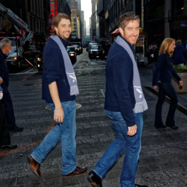 Atlassian co-founders Mike Cannon-Brookes (left) and Scott Farquhar in New York in December 2015, on the day their company listed on the Nasdaq stock exchange.