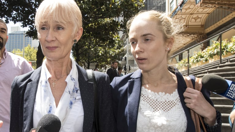Genute Balsiene and her daughter Saule Baslyte leave the Downing Centre Courts.