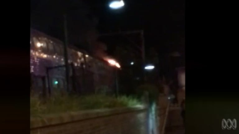 A fire broke out in the last carriage of this train in the Blue Mountains.