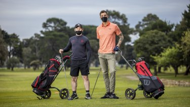 Shane Nolan and Anthony Carden were eager to make the most of the eased restrictions at Albert Park Golf Club.
