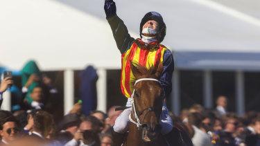 James McDonald celebrates after winning The Everest aboard Nature Strip.