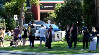 People lined up at Centrelink in Perth as the pandemic took its toll on the WA economy.