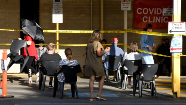 People waiting to be tested at Sir Charles Gairdner Hospital.
