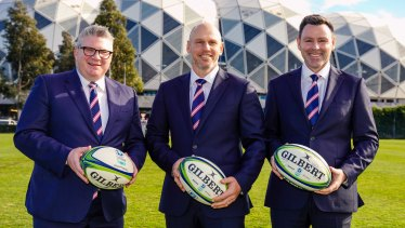 Rebels chairman Paul Docherty (left), new head coach Kevin Foote (centre) and chief executive Baden Stephenson (right).
