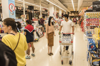 Shoppers at Coles Macquarie Centre.