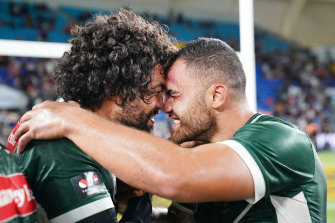 Dylan Walker (right) celebrates the Maori All Stars win with Adam Blair last month.