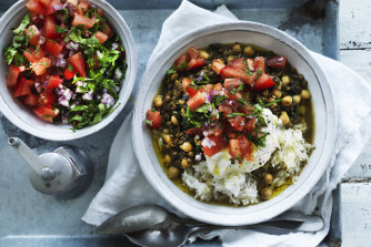 Chickpea and green lentil curry with spinach.