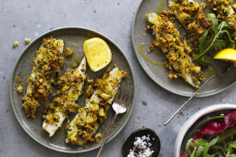Garfish with herbed pistachio.