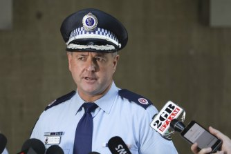 Assistant Commissioner Michael Willing announcing the death of Melissa Caddick at the Sydney Police Centre on Friday.