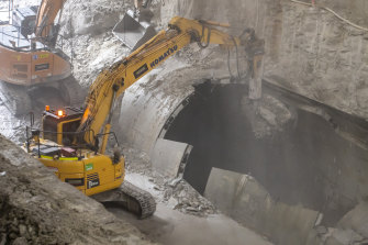 Excavators breaking through at the bottom of the Metro at Sydney's Central Station.