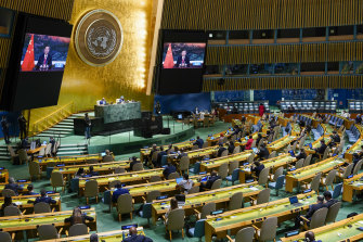 Chinese President Xi Jinping is seen on a video screen at the UN on Wednesday.
