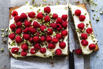 Raspberry, pistachio and lime traybake.