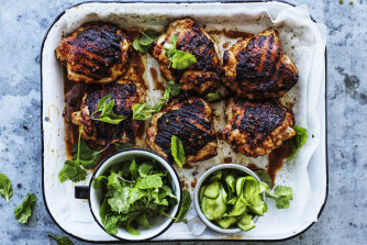 Spicy miso barbecued chicken with pickled cucumber.