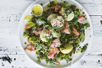 Trout, potato and lentil salad.