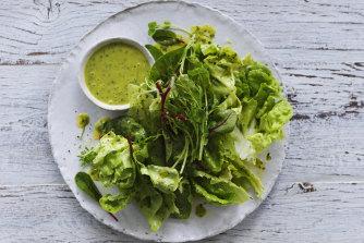 Leaf salad with parsley vinaigrette.