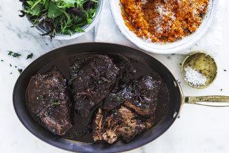 Shiraz and aniseed beef cheeks.