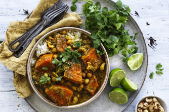 Pumpkin and chickpea coconut curry.