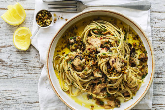 Linguine with spicy tuna, olives and capers.