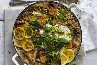 Persian chicken with rice, pistachio & mint