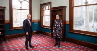 Lord mayor Clover Moore and Dr John Yu at the old Haymarket library.