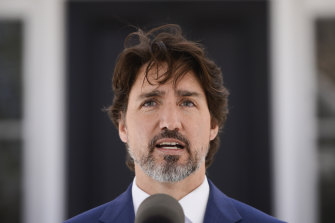 Justin Trudeau delivers his daily briefing at Rideau Cottage, the Prime Minister's residence, in Ottawa, Ontario, on Thursday.
