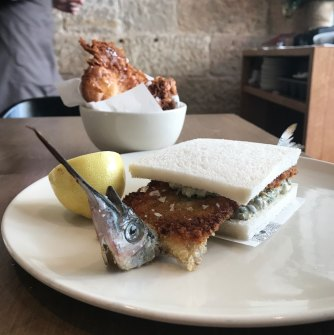 A garfish sandwich, a typically inventive Niland creation.