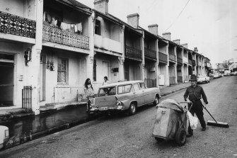 Terraces in Louis Street, Redfern, on April 16, 1973