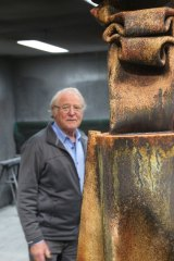Michael Le Grand with <i>Guardian</i>, his entry in Sculpture by the Sea 2018.