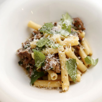 The rigatoni with saltgrass lamb shoulder at Bellota Wine Bar.