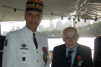 John Eppel with Major General Philippe Leonard, Commander of French Armed Forces at ceremony  to award John Eppel the insignia of Chevalier in the French National Order of the Legion of Honour, 2015.
