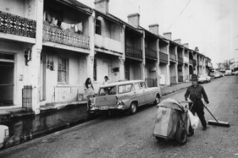 Terraces in Louis Street, Redfern, on April 16, 1973