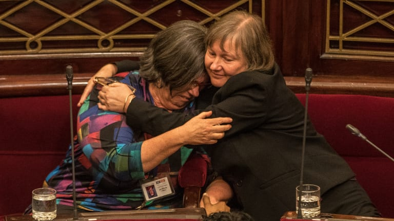 Ms Hartland with fellow Green  Samantha Dunn after the Upper House's marathon 29-hour sitting to pass the Voluntary Assisted Dying Bill in November last year.