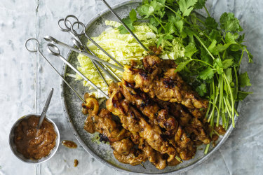 Chicken skewers with easy satay sauce.