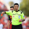 ADELAIDE, AUSTRALIA - JANUARY 03: Referee Alireza Faghani gives a red card to Scott Jamieson of Melbourne City during the A-League match between Adelaide United and Melbourne City at Coopers Stadium, on January 03, 2021, in Adelaide, Australia. (Photo by Mark Brake/Getty Images)