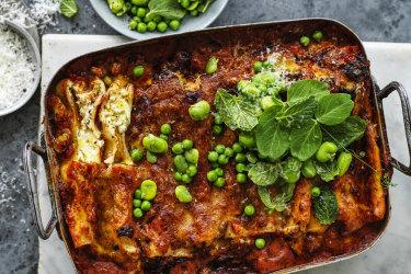 Karen Martini recipe : Ricotta cannelloni with primavera sauce.