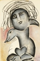 Mirka Mora, We Hold My Heart (c.1976), pastel and charcoal on paper, 76cm x 56cm, $15,000; © The Estate of Mirka Mora / Courtesy William Mora galleries.