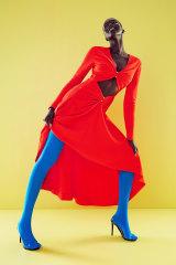 Dion Lee dress, $1390. Voodoo hosiery, $13, from David Jones. Tony Bianco heels, $200.